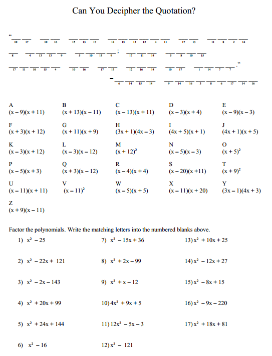 Puzzle Factoring Trinomials – Holiday Math Worksheets Middle School
