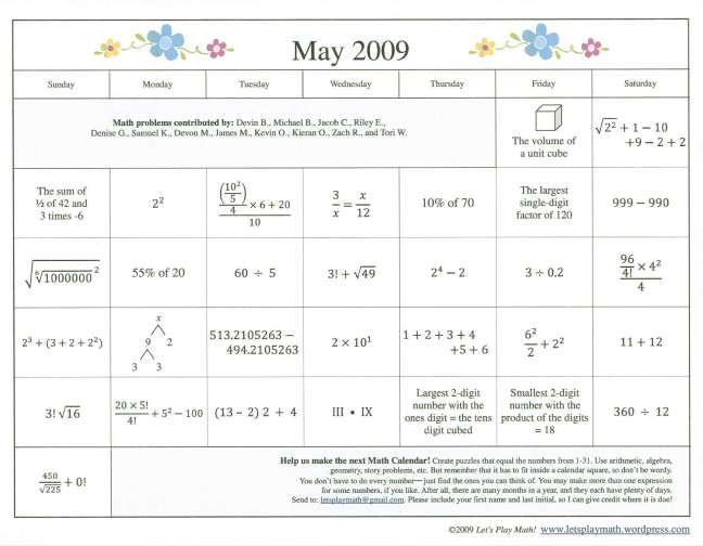 Calendar Year Question : May math calendar denise gaskins let s play