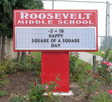 3-19 Happy Square of a Square Day sign