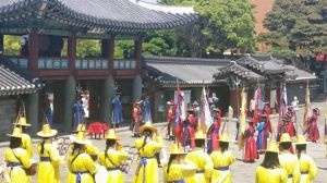 Changing of the guard at Old City Hall, Jeju-si.