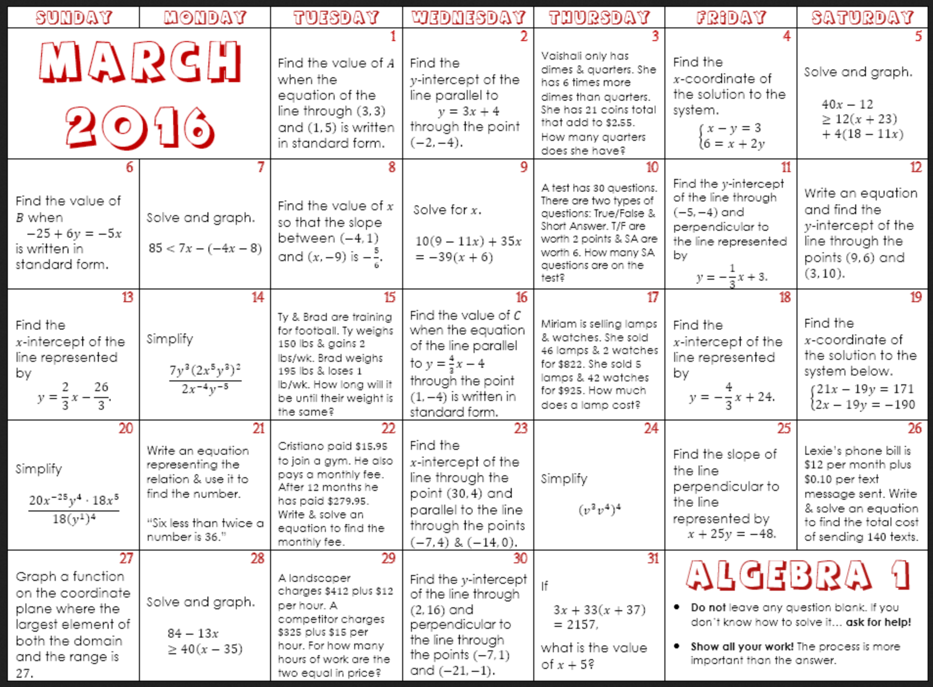 March 2016 Math Calendars – Denise Gaskins\' Let\'s Play Math