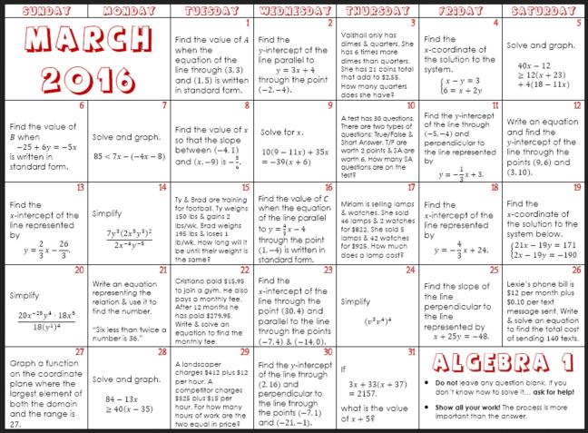 algebra calendar